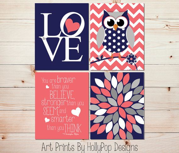Owl Nursery Art Baby Girl Decor Floral Burst Print Girl Nursery Prints Toddler Girl Wall Art LOVE print Coral Navy Gray Nursery Decor 0844