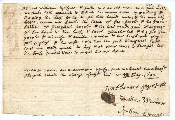 Abigail Williams' testimony against George Jacobs, Jr, circa May 1692