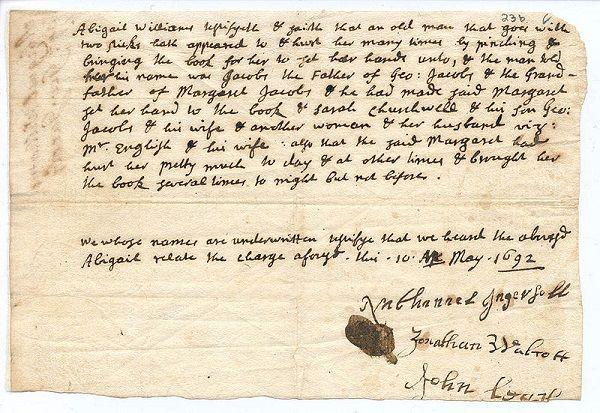 Abigail Williams' testimony against George Jacobs, Jr, circa May 1692