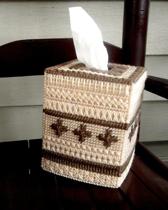 Sampler in Browns Tissue Box Cover by TissueMart on Etsy, $18.00