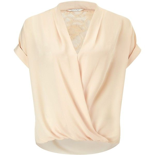 Miss Selfridge Nude Lace Back Drape Blouse (£32) ❤ liked on Polyvore featuring tops, blouses, shirts, cream, women, pink short sleeve shirt, short sleeve tops, short-sleeve shirt, cream shirt and shirt blouse