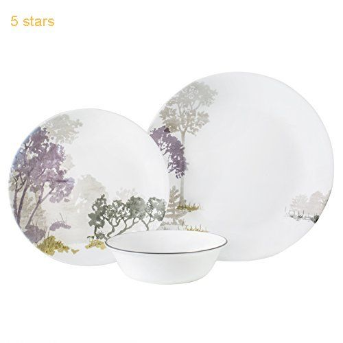Corelle Forest At Dawn Chip and Break Resistant Dinner Set for 4 Person Purple/Green/Grey 12-Piece