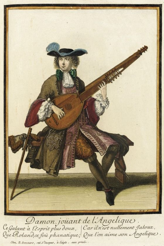 "1686-1690 French Fashion plate ""Recueil des modes de la cour de France, 'Damon joüant de l'Angelique'"" at the Los Angeles County Museum of Art, Los Angeles - From Wikipedia: ""The angélique (French, from Italian angelica) is a plucked string instrument of the lute family of the baroque era. It combines features of the lute, the harp, and the theorbo."""