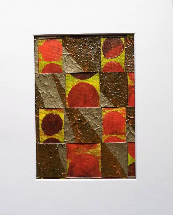 An Original Abstract Art Weaving Collage Mixed Media in Red