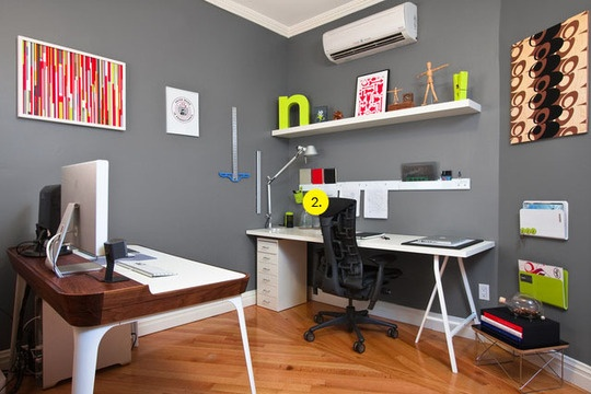 desk with shelf and grey walls