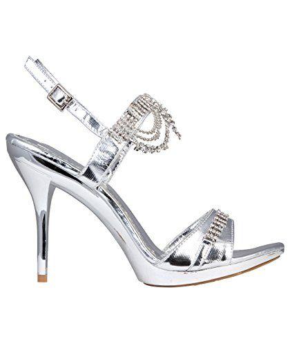 Damen Glitzer High Heel Sandalen Silber Strass Riemchen - http://on-line-kaufen.de/krisp/damen-glitzer-high-heel-sandalen-silber-strass