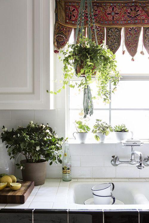 -Boho living. Bohemian home decoarting. African bohemian decorating. Afro bohemian kitchens. Boho kithcen decor. Boho window dressing. Boho windows.