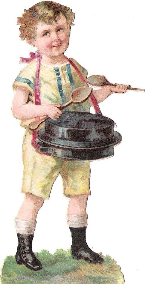 Oblaten Glanzbild scrap die cut chromo Kind child 12,2cm  Musik music Backform