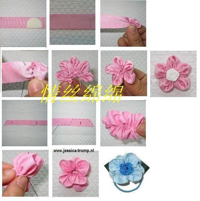 Flores de liston facilitas hair accessories for Decoraciones para el pelo