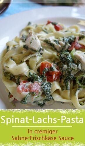 Spinat-Lachs-Pasta in cremiger Sahne-Frischkäse Soße #spinatlachspasta #lachs #spinat #nudeln #mittagessen #frischkäse #cremigesoße #leckeresessen