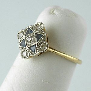 1920s FINE ART DECO 10K GOLD DIAMONDS & SAPPHIRES RING