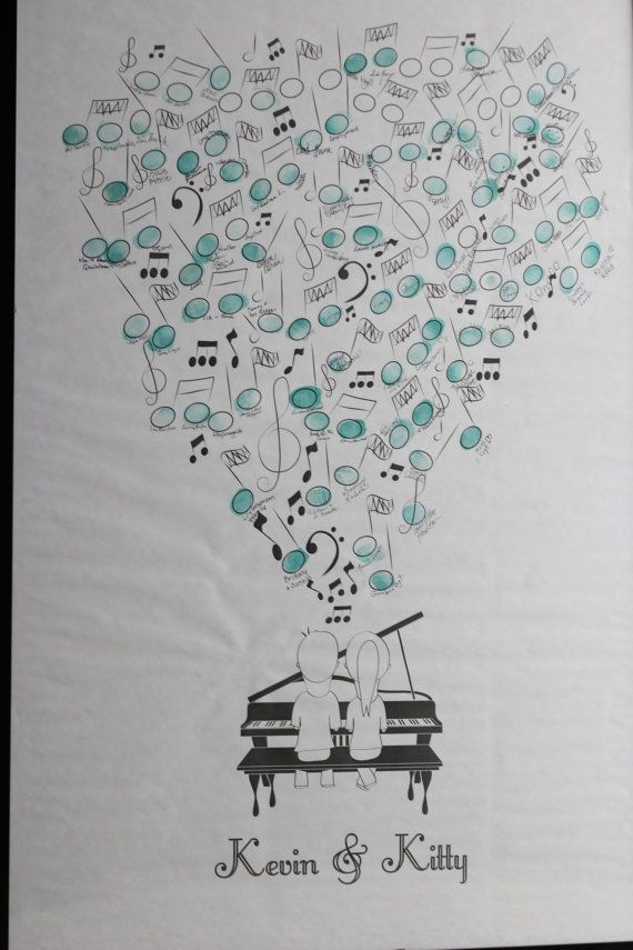 Thumbprint Musical Guestbook PDF by ladygreyshop on Etsy