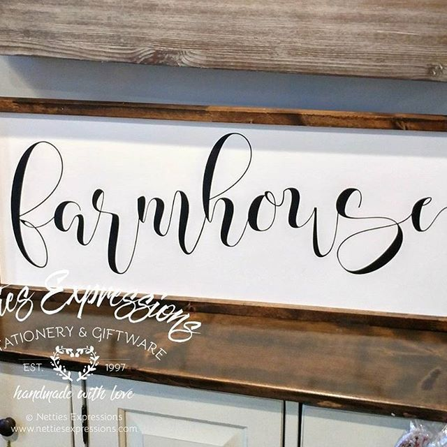 Farmhouse This 12 x 30 framed wood sign is another one of my new designs. This sign is now available through my retail location (213 2nd Ave NW Roblin, MB) and my online shop. (www.nettiesexpressions.com)  #nettiesexpressions #madewithlove #handmadewith