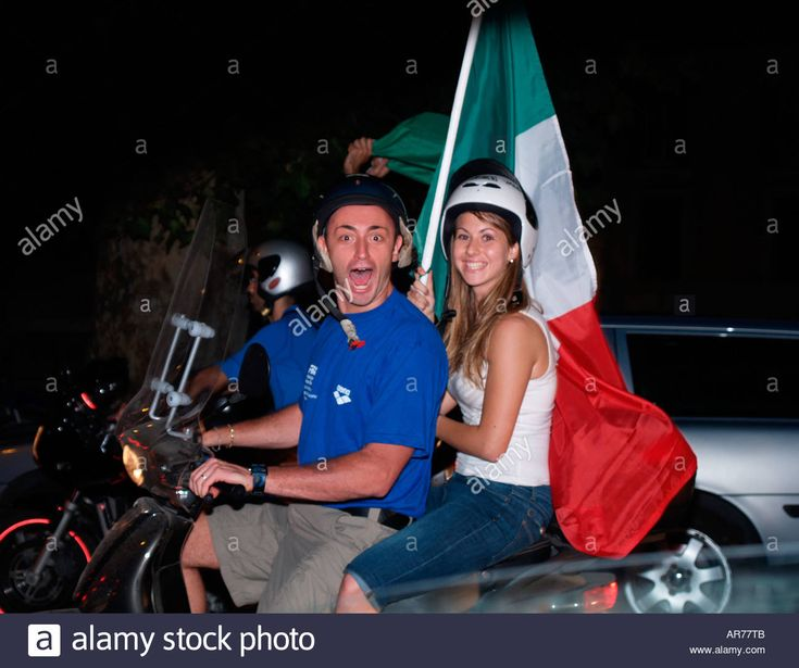 Young Couple On Scooter Celebrate Italy National Football Team ...