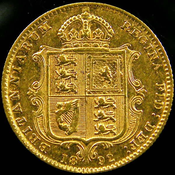 1892  VICTORIA 1/2 SOVERIGN JUBILEE  CO 604 gold coin uk, england gold coins,Guinea gold sovereign