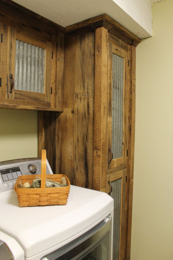 Rustic Tall Storage Reclaimed Barn Wood Cabinet W Tin