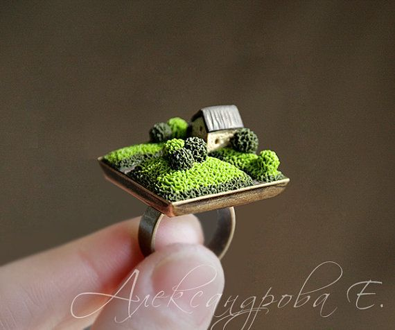 House ring - Home ring - Polymer clay miniature - Home Sweet Home Jewelry - Green Brown - Square Adjustable ring - Summer landscape - trees