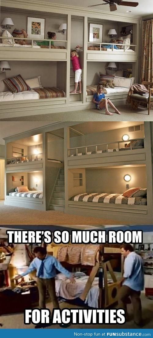 This is an awesome way to add bunkbeds to your child's room or even a spare bedroom in the house and still have so much extra room for other furniture!