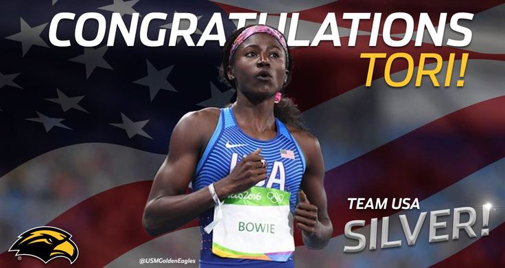 """Southern Miss Sports Via USM Golden Eagles: """"From Hattiesburg to Rio... USA's Tori Bowie takes the Silver Medal in the Women's 100m!"""" #Rio2016 #SMTTT"""