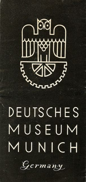 Deutsche Museum Munich, Germany - information leaflet, c1938 by mikeyashworth. The original monoline logo.