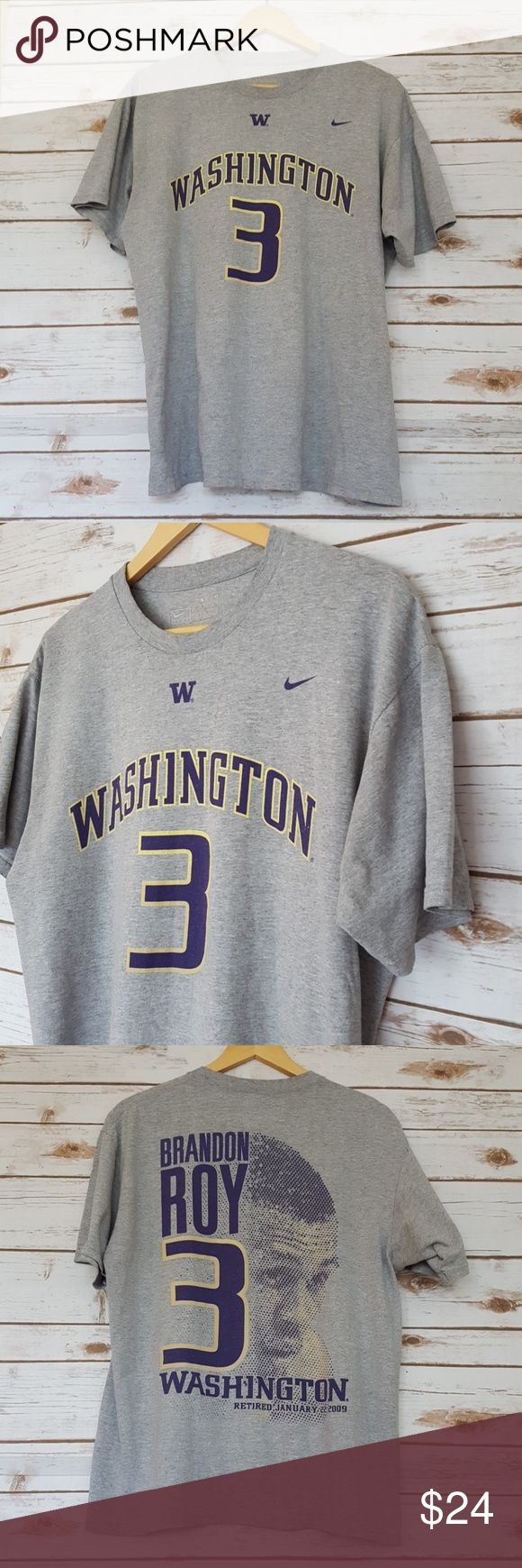 """washington huskies brandon roy tshirt size M Measurements lying flat:  Chest: 22"""" Length:27"""" 100% cotton, 12% rayon Smoke-free home  -Prices firm on items under $10.  -No trades, please.  Thank you for shopping my closet, it means a lot to me! Nike Shirts Tees - Short Sleeve"""