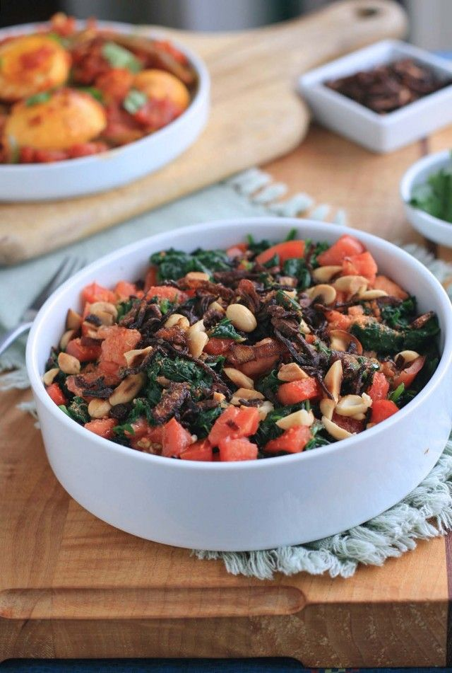 Burmese Wilted Spinach Salad with Tomatoes, Peanuts and Golden Crispy Shallots.