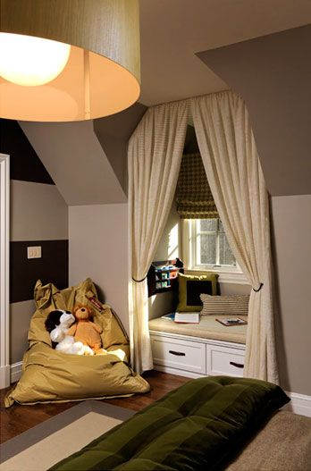 25 best ideas about window seat curtains on pinterest for Dormer bedroom designs