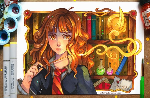 Hermione Granger арт, аниме, Гарри Поттер, Гермиона, рисунок, larienne, девушки, Anime Art