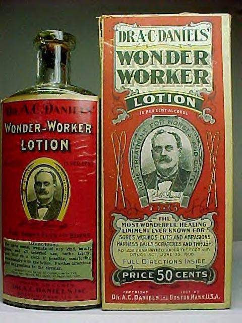 """An early 20th century (1906 to about 1915) veterinary medicine bottle intended for use on livestock, i.e. a """"Home Treatment for Horses and Cattle""""....The label notes it is """"Guaranteed under Food and Drugs Act of 1906"""" indicating it was produced during the date range noted."""