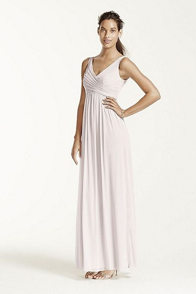 MORE COLORS Long Mesh Dress with Cowl Back Detail Style F15933 $159.00  davidsbridal.com