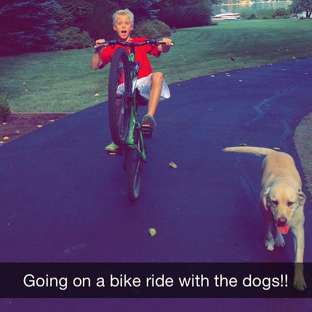 Carson lueders with dog