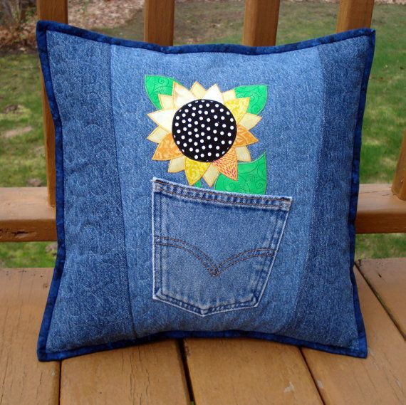 """Pattern for """"Sunny Sunflower"""" Quilted Pillow made with Upcycled Recycled Denim…"""