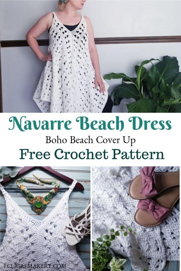 Navarre Crochet Beach Dress Free Crochet Pattern Crochet Beach Dress Crochet Bathing Suit Cover Crochet Summer Dresses