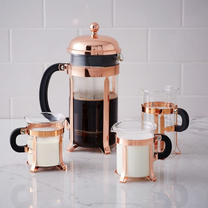 .Rose gold french press