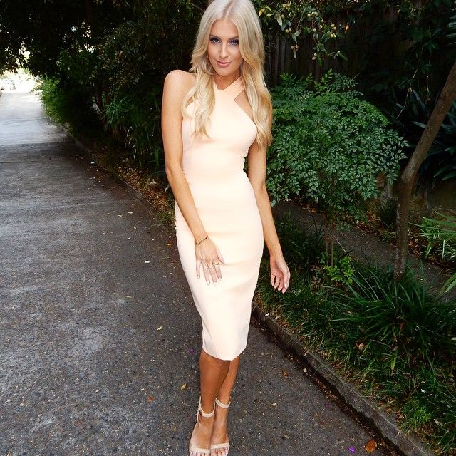 Erin Holland wearing the Becky Dress and Yvette Heels