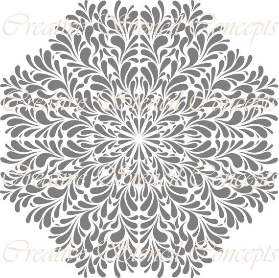 Octagonal Floral Medallion Decorative Stencil MULTIPLE SIZES AVAILABLE on Industry Standard 12 ...