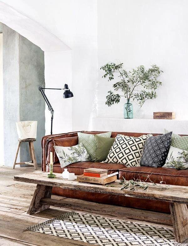 Interior design, living room  #couch #cushion Aztec prints, Nature materials