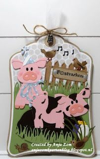 Handmade label by DT member Anja with Collectables Eline's Piglet (COL1402), Craftables Label XL & Labels XS (CR1353), Grass (CR1355), Creatables Tiny's Corcus (LR0400) from Marianne Design