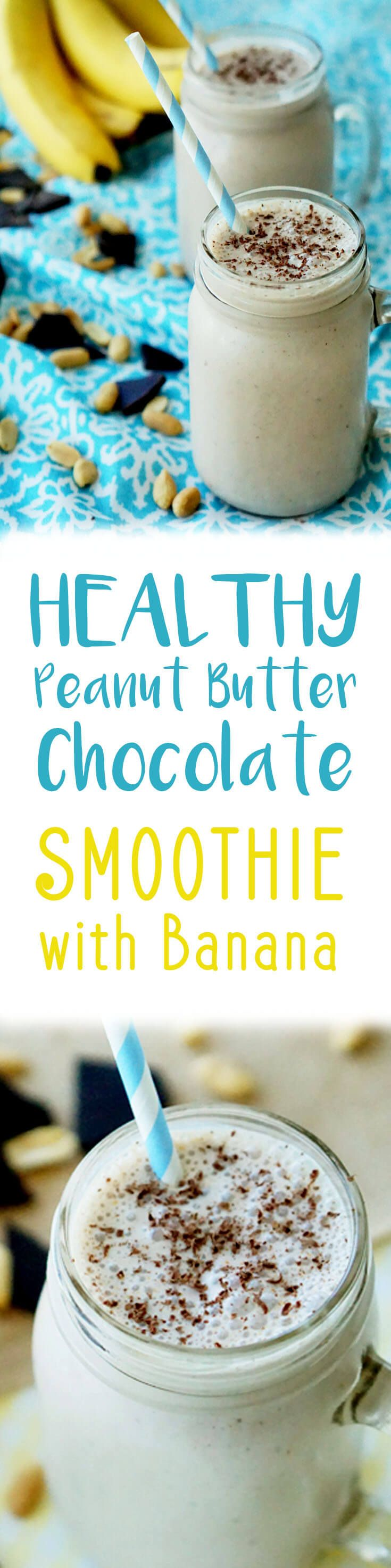My favourite healthy peanut butter chocolate smoothie with banana and flax makes for a balanced breakfast or snack any day!