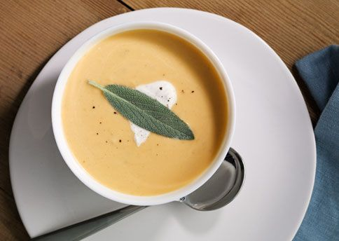 Butternut Squash Soup with Sage Cream Here's a lovely, velvety soup ...