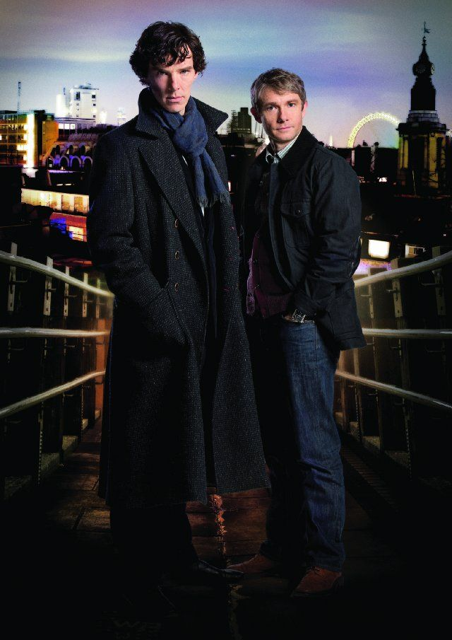 Still of Benedict Cumberbatch and Martin Freeman. Now Cumberbatch has once again made me go all jelloid..