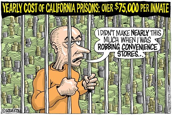 Wolverton - Cagle Cartoons - LOCALCA Rising Prison Costs - English - Prison, Incarceration, Prisoners, Inmates, California Department of Corrections and Rehabilitation, State Prison System6/7/17