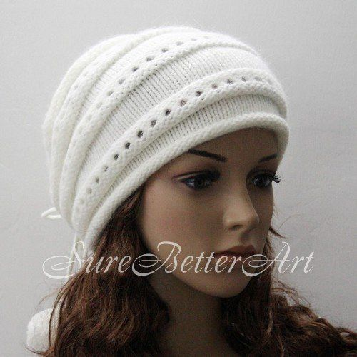 Wholesale Free Shipping H105 Women Knit Ski Snow Beanie Cream white Color Hat Cap Warm Winter