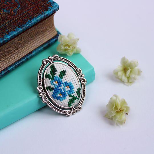 #brooch #handmade #embroidered #cross-stitch #gift #flower #nzee