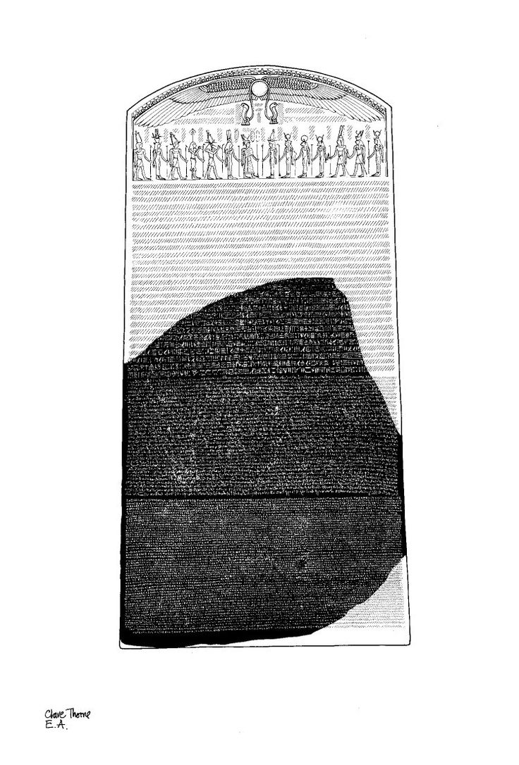 The Rosetta Stone, Part of grey and pink granodiorite stela bearing priestly decree concerning Ptolemy V in three blocks of text: Hieroglyphic (14 lines), Demotic (32 lines) and Greek (53 lines).