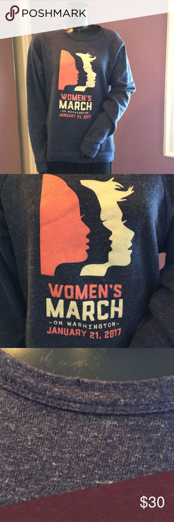 Women's March on Washington Pullover Sweater Navy blue long sleeve Pullover sweater from The Women's March on Washington on January 21, 2017. Size Large. Small hole on collar and in back. A piece of history! In good condition overall. Sweaters Crew & Scoop Necks