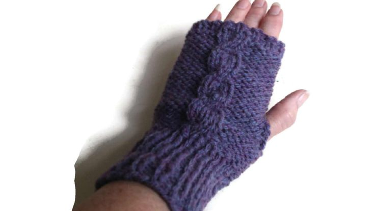 Aran Wristwarmers, Purple Knitted Wrist Warmers, Aran Gloves, Cable Gloves, Gloves and Mittens, Woolen by thekittensmittensuk on Etsy