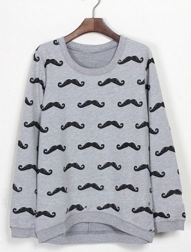 Grey Long Sleeve Cartoon Beard Print Sweatshirt