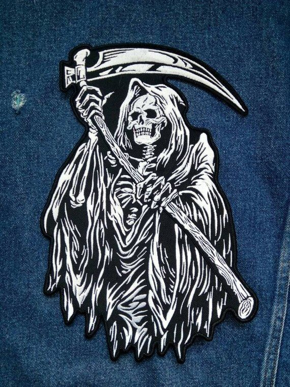 Speed Demon Red Eyed Skull Mens Embroidered Biker Patch medium Size FREE SHIP