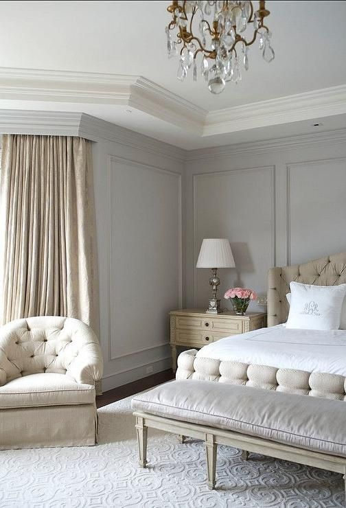Beige and gray bedroom features gray walls painted for Grey beige paint color